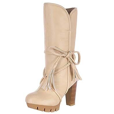 Cuckoo Womens Boots Leather Thick High Heel Platform Tassels Lace Winter Warm Boots Beige 5.5B(M) US