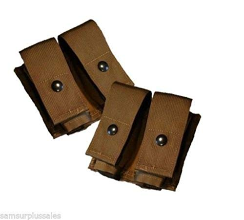 AirSoft Lot of 2 USGI Double 40MM HE High Explosive/Grenade MOLLE Pouch New Nib Coyote