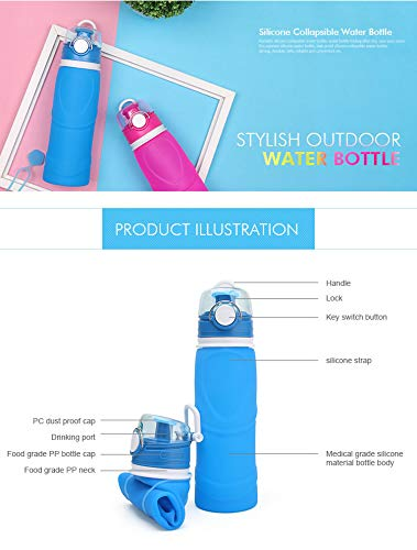MyFriday Outdoor Collapsible Water Bottle - Convenient Clip