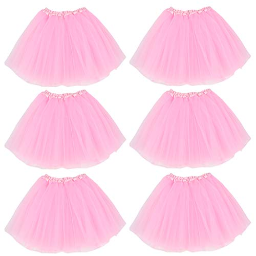 kilofly 6pc Pink Girls Ballet Tutu Kids Birthday Princess Party Favor Dress Skirt Set