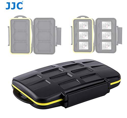 JJC MC-XQD6 Ruggard XQD Card Case, Shockproof XQD Case, Water-Resistant XQD Case Case, Rubber Sealed Ergonomic Locking Easy Carrying Memory Card Case fits 6 x XQD Cards