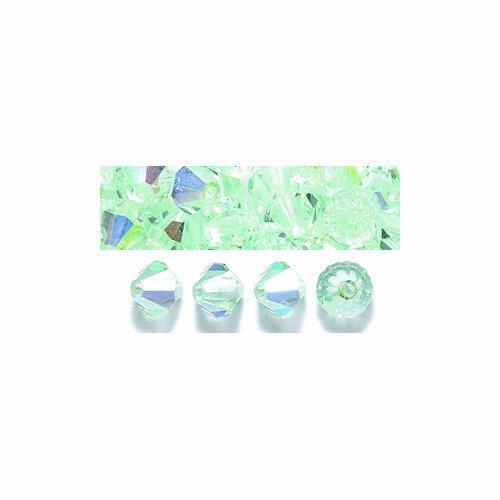 (Preciosa 144-Piece Czech Crystal Bicone Beads Set, 5 by 5mm, Chrysolite Aurora Borealis Finish )