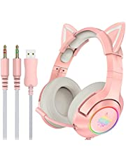 K9 3.5mm Wired Gaming Headset Removable Cat Ears Headphones Noise Canceling E-Sports Earphone with Microphone RGB LED Light Volume Control Mute Mic for Desktop PC