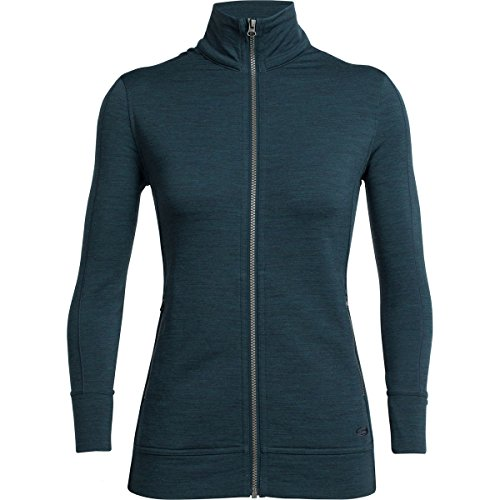 Merino Wool Jacket - Icebreaker Merino Women's Dia Long Sleeve Zip, Nordic Heather, Small