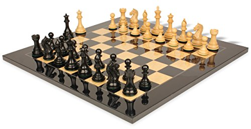 Fierce Knight Staunton Chess Set in Ebonized & Boxwood with Black & Ash Burl Chess Board - 3