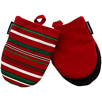 Cuisinart Neoprene Mini Oven Mitts, 2pk -Heat Resistant Oven Gloves to Protect Hands and Surfaces with Non-Slip Grip and Hanging Loop-Ideal Set for Handling Hot Cookware, Bakeware -Ribbon Stripe