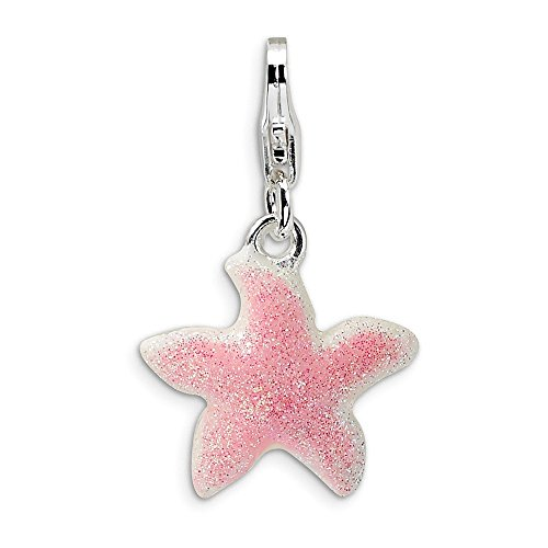 Jewelry Best Seller Sterling Silver Enameled Pink Sparkle Starfish w/Lobster Clasp Charm ()