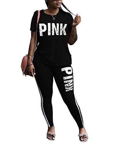 DingAng Women Letter Print Short Sleeve V Neck Sweatshirt Long Pant Jumpsuits 2 Piece (Comfortable Letters)