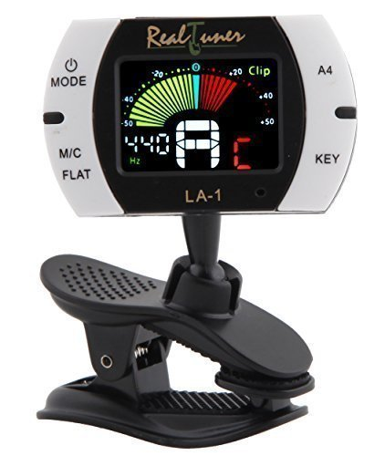 Real Tuner - Chromatic Clip-on Tuner for Guitar, Bass, Violin, Ukulele, Banjo, Brass and Woodwind Instruments - Bright Full Color Display - Extra Mic Function - A4 Pitch Calibration - Transposition from Groovy Center