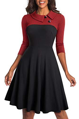 HOMEYEE Women's Lapel 3/4 Sleeve Church Aline Colorblock Work Dress A121(4,Red)