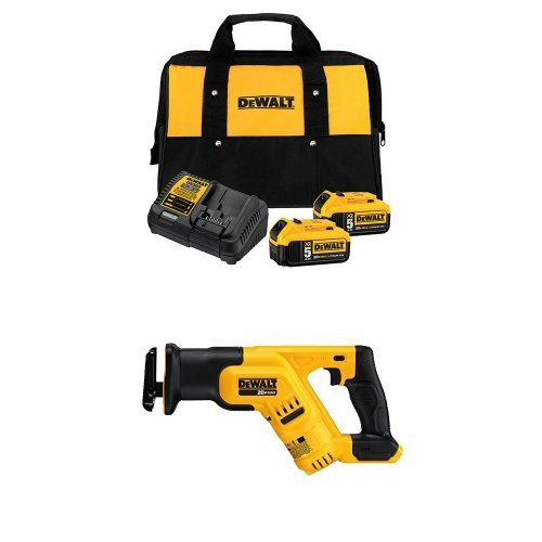 DEWALT DCB205-2CK 20V Max 5.0Ah Starter Kit with 2 Batteries with DCS387B 20-volt MAX Compact Reciprocating Saw by DEWALT