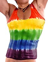 NDS Wear Rainbow Tank Top Tie Dye Gay Pride Mens A-Shirt Ribbed Tank