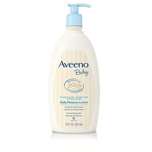 Aveeno Baby Daily Moisture Lotion with Natural Colloidal Oatmeal & Dimethicone, Fragrance-Free, 18 fl. oz -
