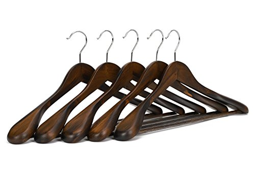 WALLER PAA Wooden Extra-Wide Shoulder Suit Hangers, Coat Hangers, 5 Pack (Coogi Coats)