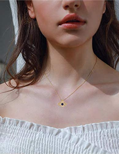 Your Always Charm Dainty Evil Eye Necklace,Gold Evil Eye Pendant Necklace for Women