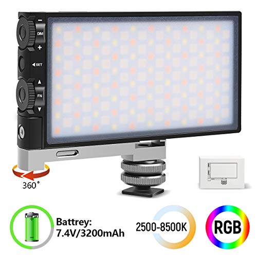 RGB LED Video Light for Camera Camcorder,Hagibis King 10 Rechargeable Pocket Size 360° Full Color Light with 2500-8500K Color Range,9 Lighting Effect Mode CRI/TLCI≥97 (Full Color)