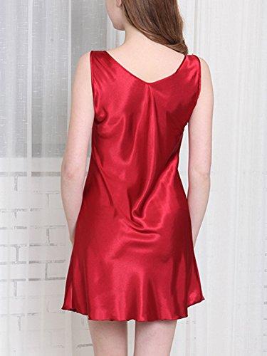 Camicia Estivo Donna Casual Maniche Senza Da Rosso Pigiama Guiran Vestito Da Notte ZqxHRntaYw