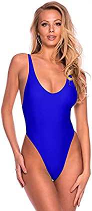 RELLECIGA Women's High Cut Low Back One Piece Thong Swimsuit for W