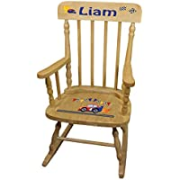 Personalized Race Cars Wooden Childrens Rocking Chair