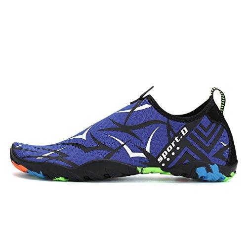 Shoes Chaussures Aqua Aquatiques Pour Bleu Piscine Natation Yoga De Femmes Surf Respirants Chaussons Plage blanc Légers Voovix Hommes Antidérapantes Avzqdvw