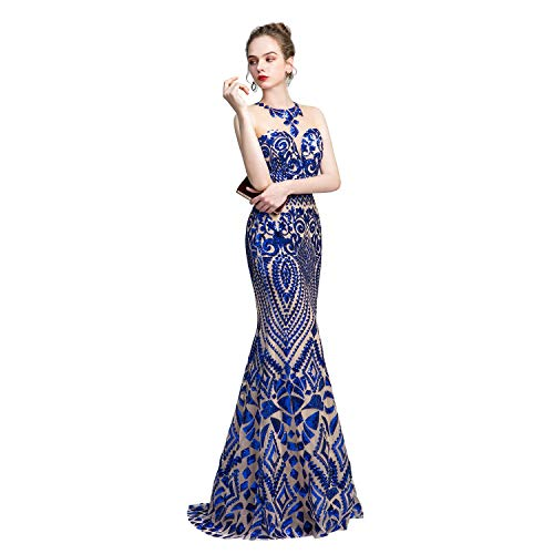 Leyidress Women's Sexy Sequins Trumpet Mermaid Dresses Royal Blue Evening Dress Long Party Prom Gown 12 Blue Sequin Ball Gown
