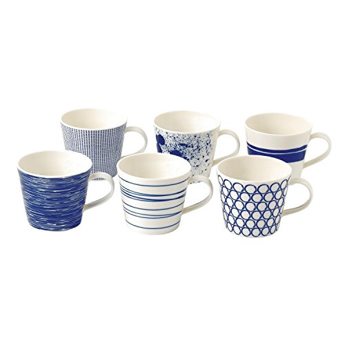 Porcelain Coffee Mug - Royal Doulton Pacific Accent Mugs, Blue, Set of 6