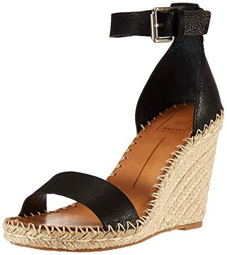 Dolce Vita Women's Noor Wedge Sandal Black Leather 8 M US