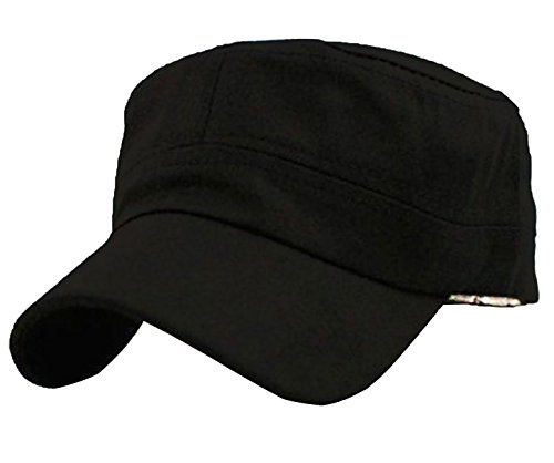 Vivoice Fashionable Solid Color Unisex Flat Top Army Style Cadet Cap with Adjustable Strap (black) ()