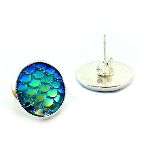 Mermaid Scales Teal and Silver Stud Earrings