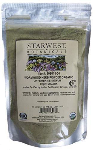 BlueArrowExpress® Wormwood Herb Powder Organic (Artemisia Absinthium) 4oz Sealed Pkg