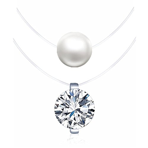 LOCHING 925 Silver One Pearl Zircon Solitaire Choker Invisible Fishing Line Necklace (Pearl+Zircon)