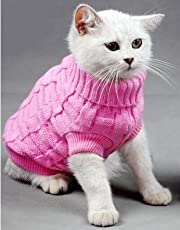 Doggie Style Store Pink Plain Knitted Cat Kitten Pet Jumper Sweater Knitwear – 6 Sizes