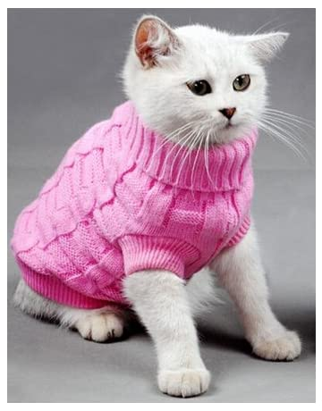 2142a3f070 Doggie Style Store Pink Plain Knitted Cat Kitten Pet Jumper Sweater  Knitwear – 6 Sizes