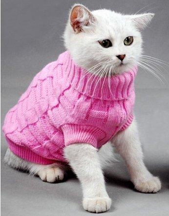 Pink Plain Knitted Cat Kitten Pet Jumper Sweater Knitwear – 6 Sizes Doggie Style Store