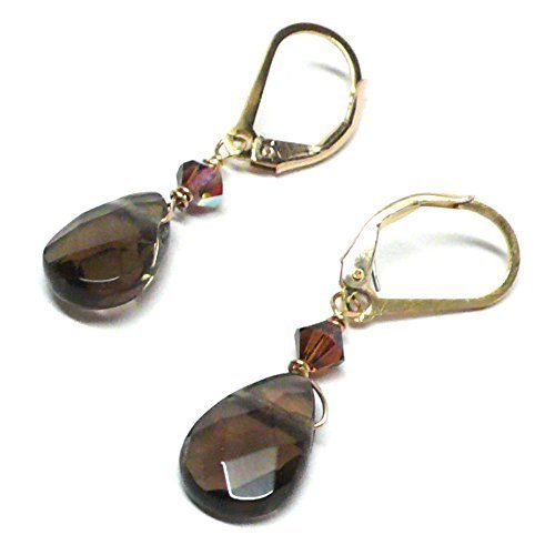 Created Smoky Quartz Briolette Lever Back Earrings Swarovski Crystal Gold-Filled