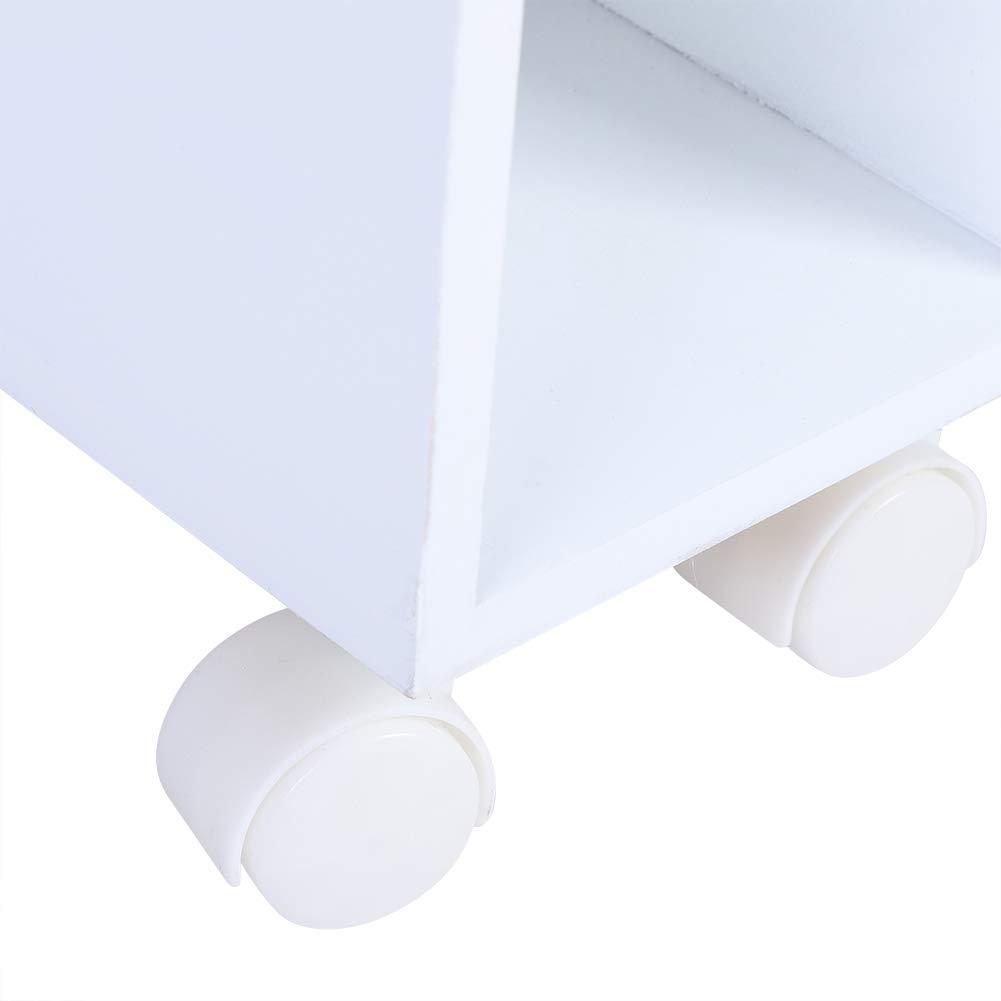50*16*72.5cm bianco armadietto da Bagno in Legno impermeabile Scaffale da Bagno//Cucina Scaffale Portaoggetti Stretto con 2 Cassetti Carrellino Carrello Salvaspazio Carrello Mobile con Ruote