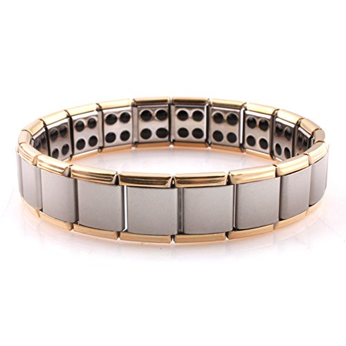HQLA Titanium Magnetic Therapeutic Stretch Wristband Bracelet,Two-Tone,Double Row Magnetic Beads,Health-Giving Gift for Men and Women (Double - Magnetic Stretch Bracelet