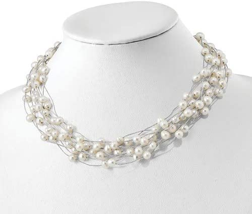 Brilliant Bijou Solid .925 Sterling Silver RH 6-8mm White FWC Pearl Multi-Strand Necklace 17.5 inches