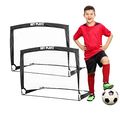 Soccer Ball Net - NET PLAYZ 4ftx3ft Easy Fold-Up Portable Training Soccer Goal, Set of 2