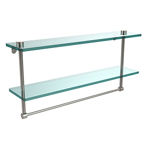 Allied Brass NS-2/22TB-SN 22 Inch Two Tiered Glass Shelf with Integrated Towel Bar, Satin Nickel
