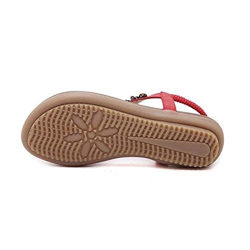 Toe Amazing Flat Clip Beach Bohemia Bead Summer 8 uk7 Eu41 Shoes strap Folk size 5 Round Women's Boho Rhinestone T Elastic cn42 Sandals z8w7xdqz
