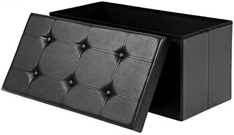 home, kitchen, furniture, accent furniture,  ottomans 12 discount SONGMICS 30 Inches Faux Leather Folding Storage Ottoman deals
