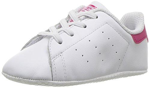 adidas Originals Girls' Stan Smith Crib Running Shoe, White/Bold Pink, 5 M US Infant