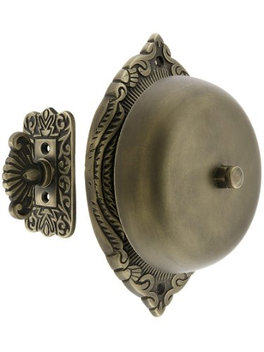 House of Antique Hardware R-06SE-0900020 Transitional Victorian Mechanical Door Bell in Antique Brass