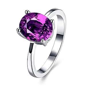 Purple Oval zircon Ring Fashion Female Crystal Jewelry