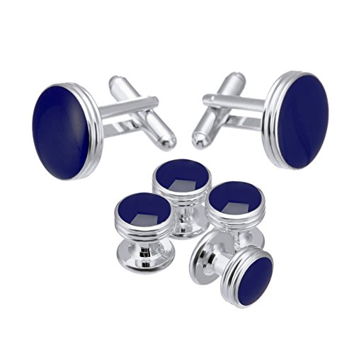 Navy Set Cufflinks (Salutto Men's Cufflinks and Studs Set for Formal French Shirt Formal Navy with Shiny)