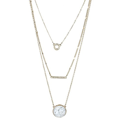 Fettero Womens Natural Stone Three Layered Pendant Long Chain Necklace 14K Gold Plated with Round White (Layered Stone)