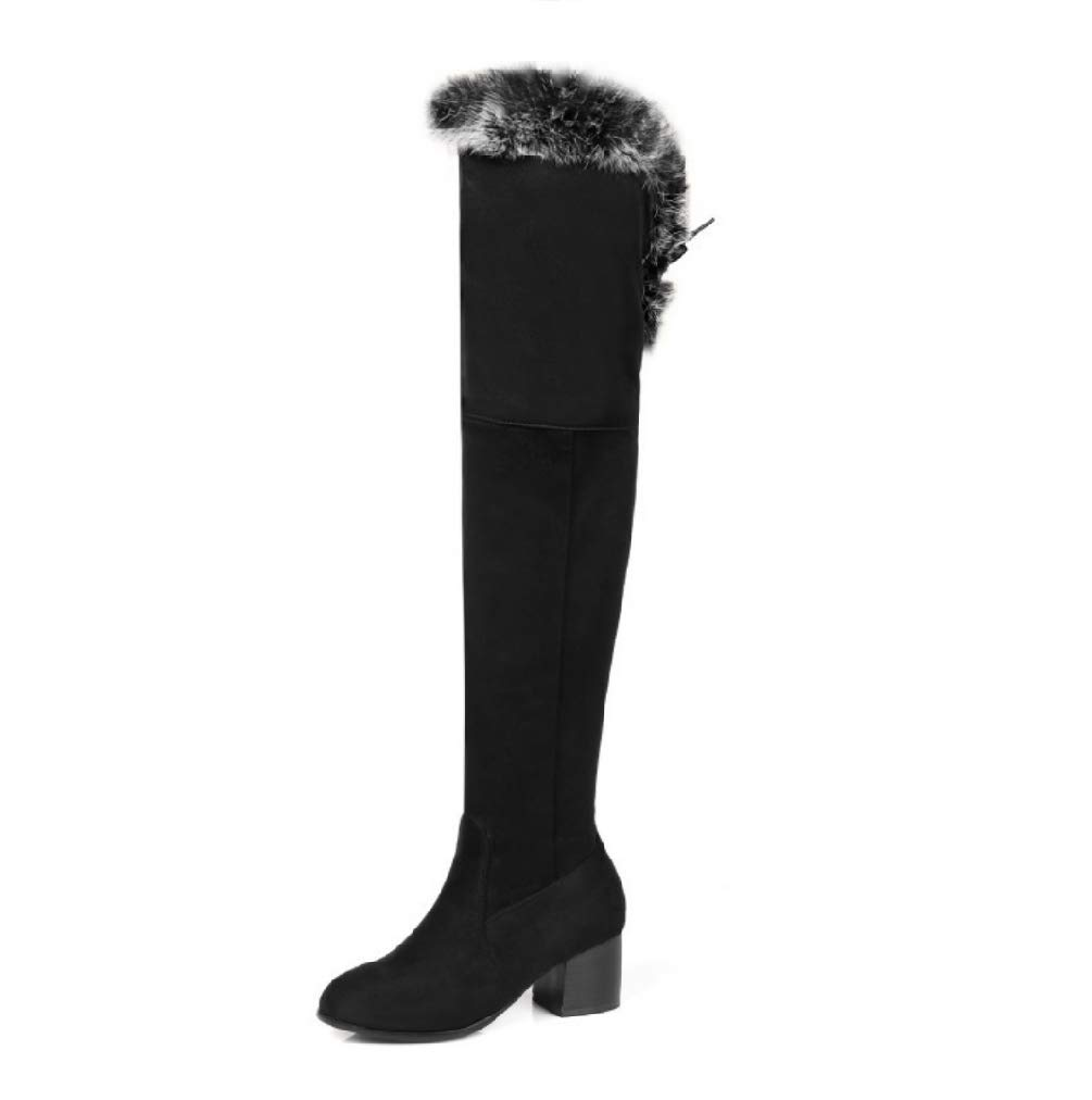 SHANGWU Damen Overknee-Stiefel Damen Schneeschuhe Vliese Kniehohe Stiefel Warme Rutschfeste weibliche Schuhe Große Riemen Runde Kopfstiefel