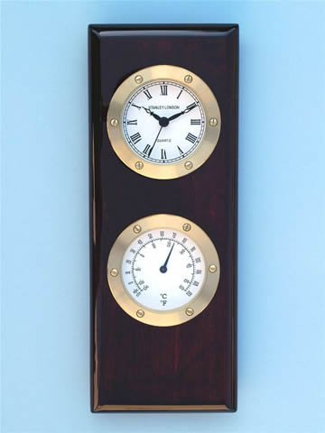 Piano Finish Clock & Thermometer Wall Weather Station