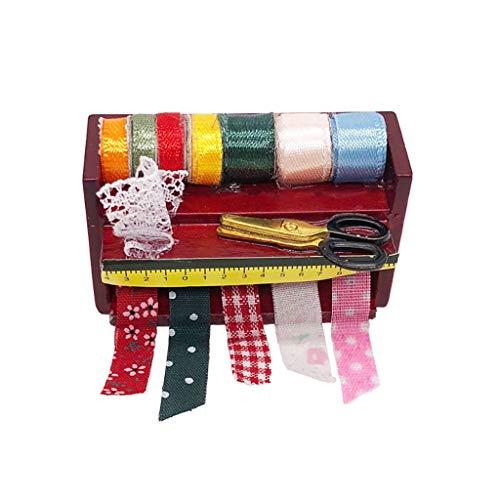 Kasien Dollhouse Accessory Mini Needlework Kit, 1:12 Dollhouse Miniature Needlework Kit Sewing Supply Needle Box Tools Accessory ()
